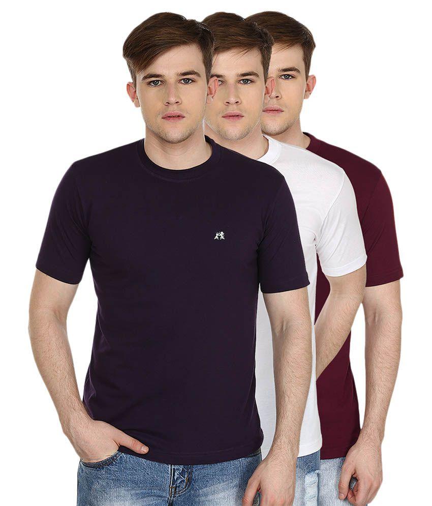 Cotton County Premium Multi Round T-Shirt - Pack of 3