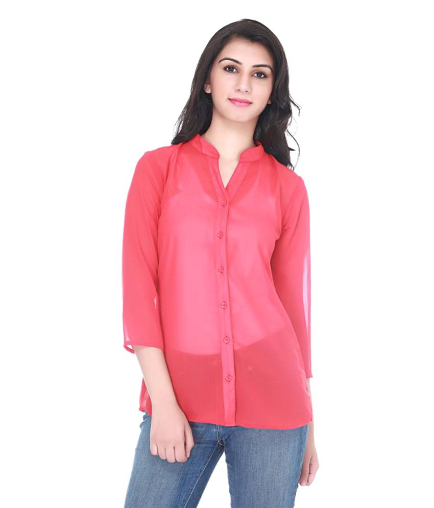 Adyuth Red Poly Georgette