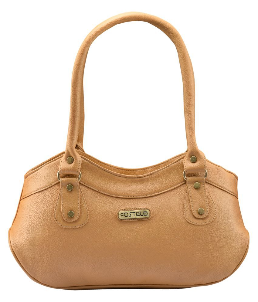 Fostelo Beige Faux Leather Shoulder Bag available at SnapDeal for Rs.599 dc653cd89d