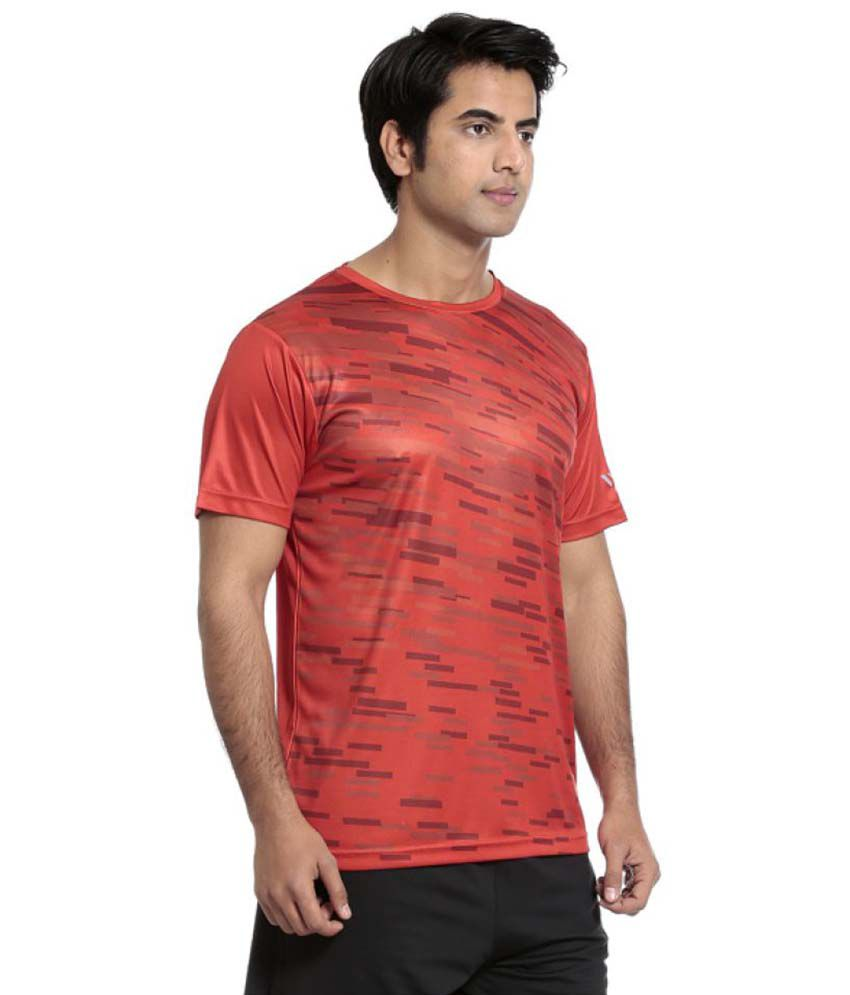 Seven Red Polyster T Shirt For Men