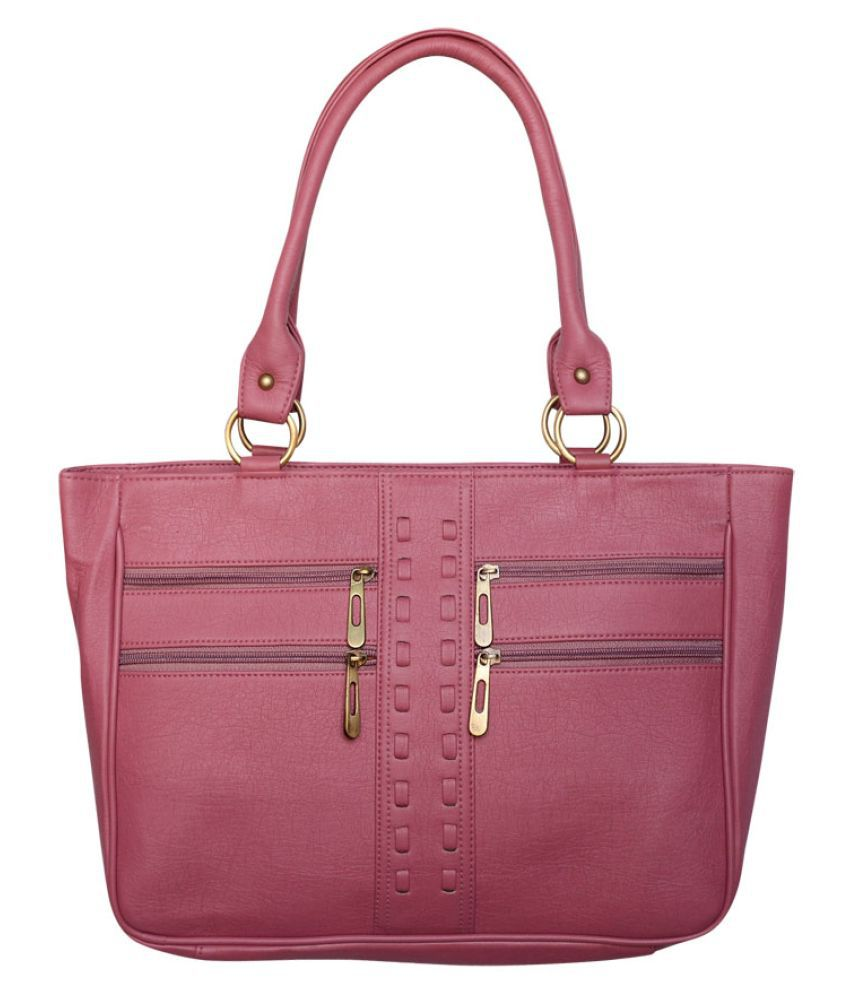 Bueva Pink Faux Leather Shoulder Bag