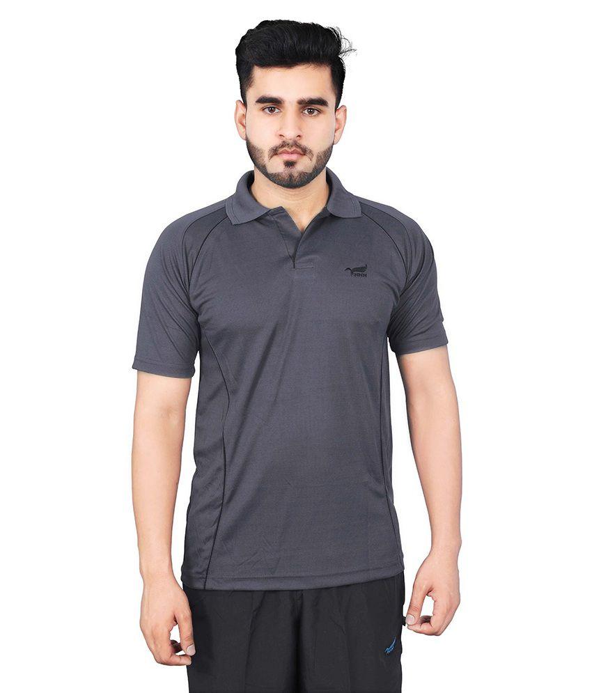 NNN Grey Polyester Polo T-Shirt