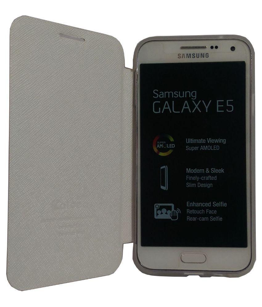 Samsung Galaxy E5 Flip Cover by BACKER THE BRAND - White