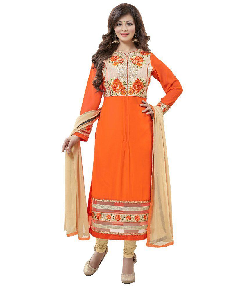 Khushali Orange Georgette Straight Unstitched Dress Material