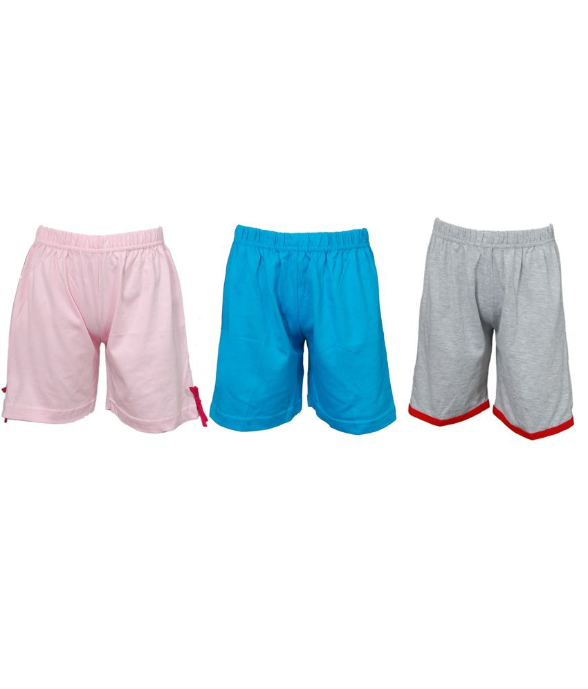 Little Stars Multicolor Cotton Shorts - Pack of 3