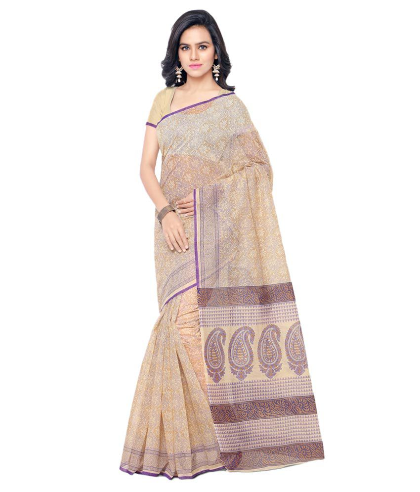 Aagaman Fashions Beige Cotton Saree