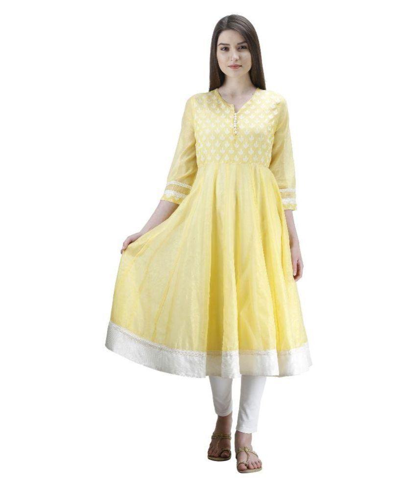 Uptowngaleria Yellow Chanderi Anarkali Kurti