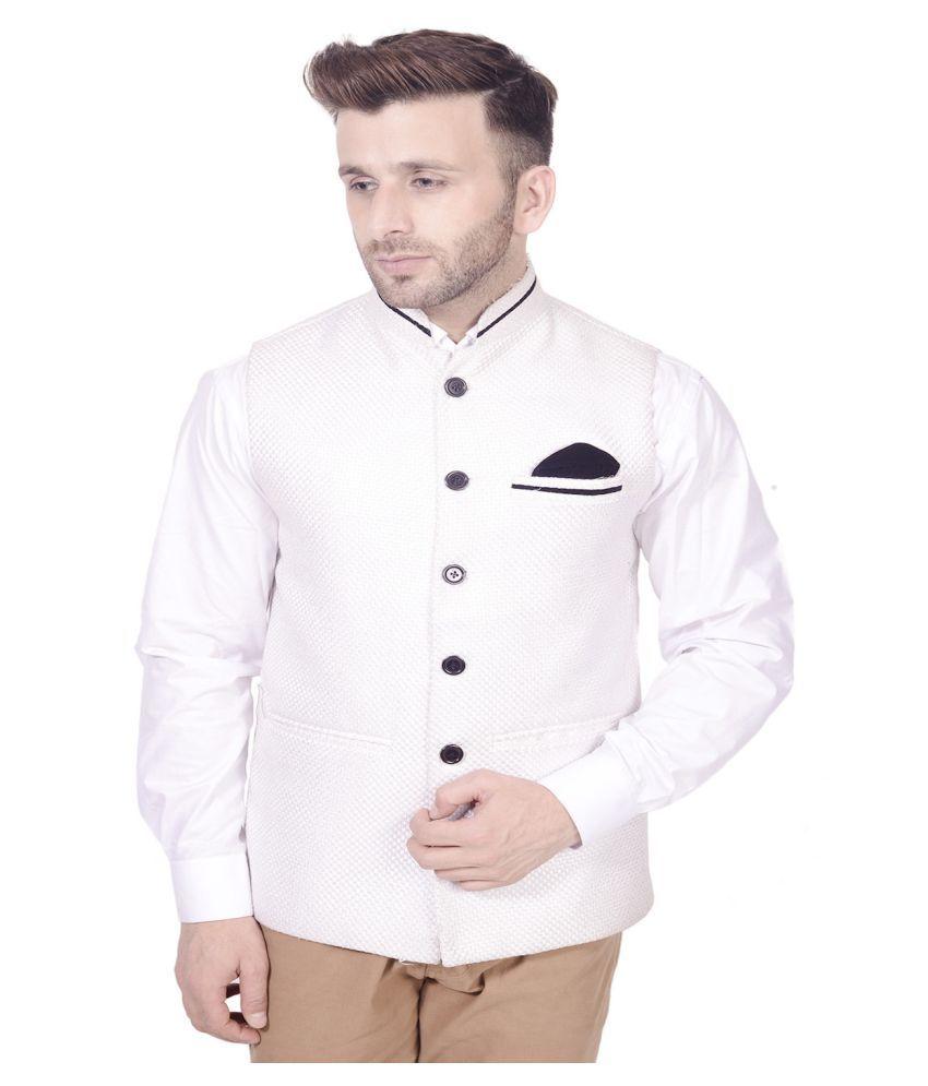 Lee Marc White Casual Waistcoats