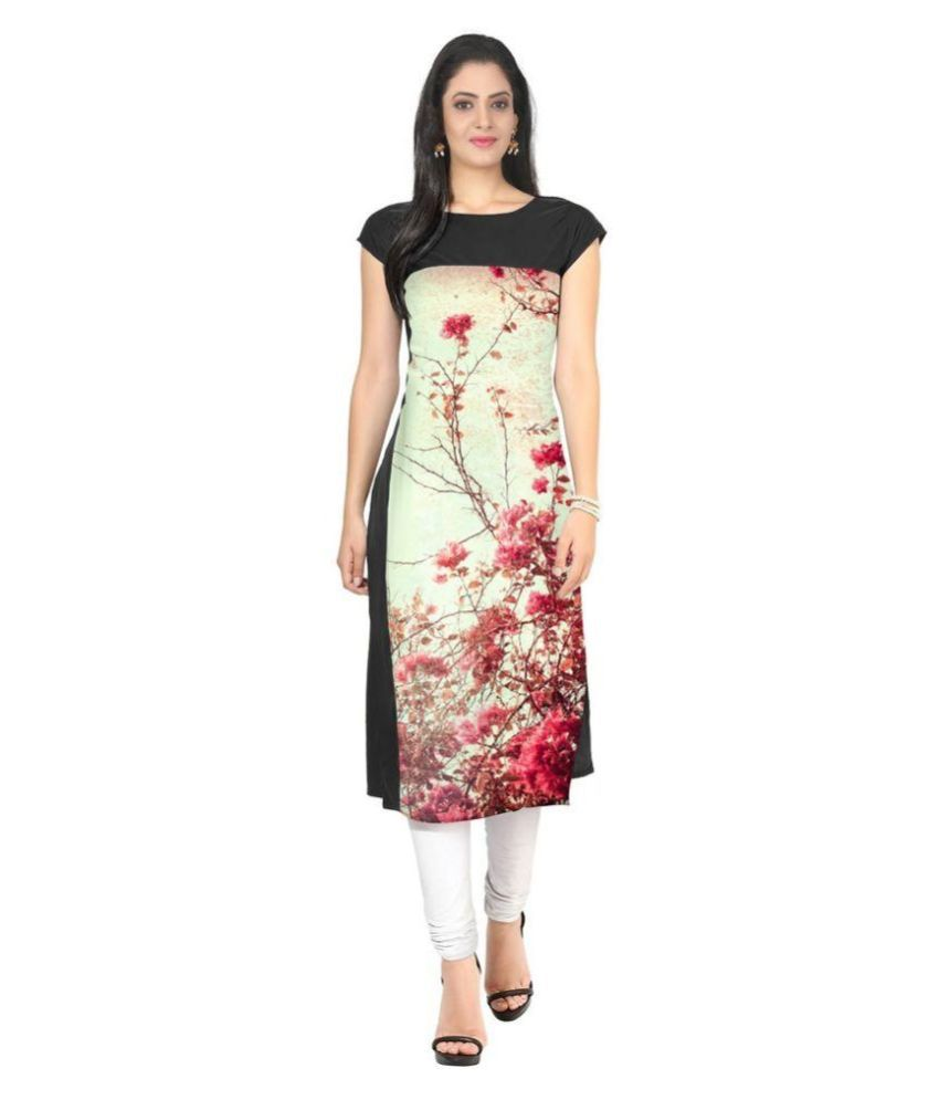 Swastik Creation Multicoloured Crepe Straight Kurti