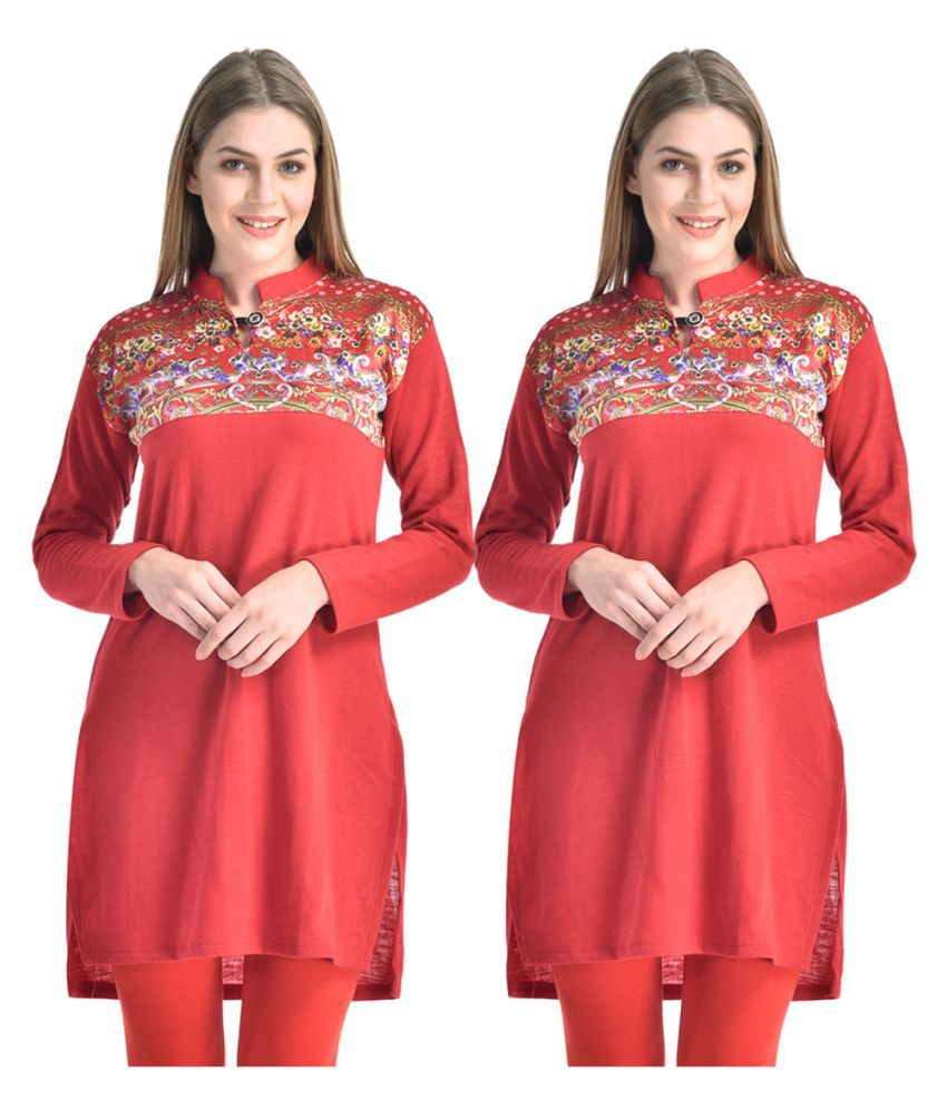 Hardy's Collection Red Woollen Straight Kurti