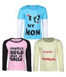 Goodway Junior Girls M&D -2 - Pink,Lemon,Turq Combo Pack of 3 T-Shirts For Girls
