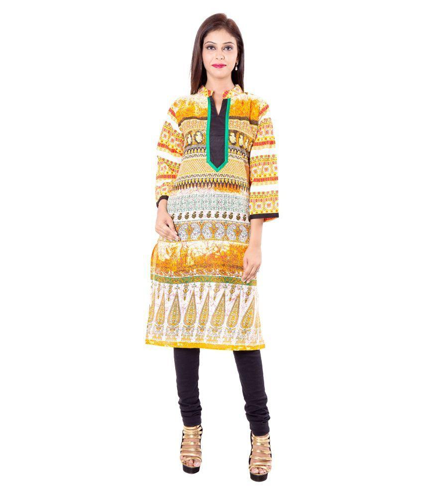 iCraftic Multicoloured Cotton Straight Kurti