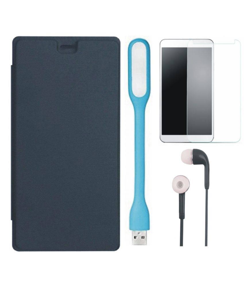 Matrix Flip Cover for Micromax Canvas Pace 4G Q416 with Earphones, Led Light and Screenguard