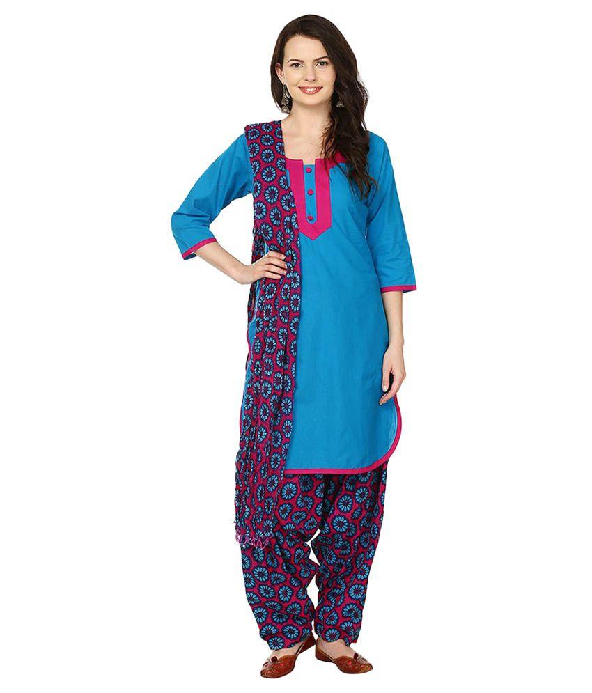 Maahi Blue Cotton Straight Fit Salwar Suit