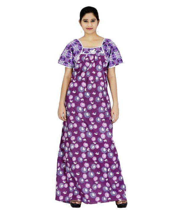 Indianbeauty Purple Cotton Nighty & Night Gowns