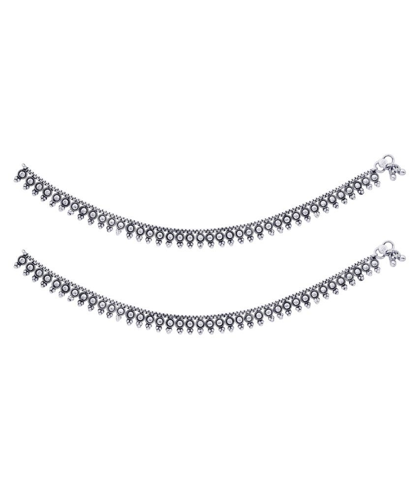 BeBold Silver Pair of Anklets