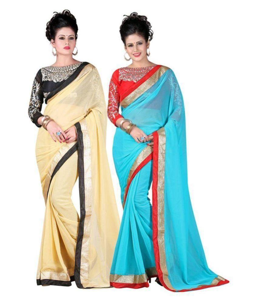 Fashionnow Multicoloured Chiffon Saree Combos