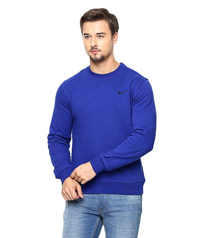 Nike Blue Nike Club Crew-Swoosh Sweatshirt for Men