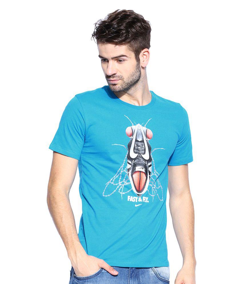 Nike Blue Printed T-Shirt for Men