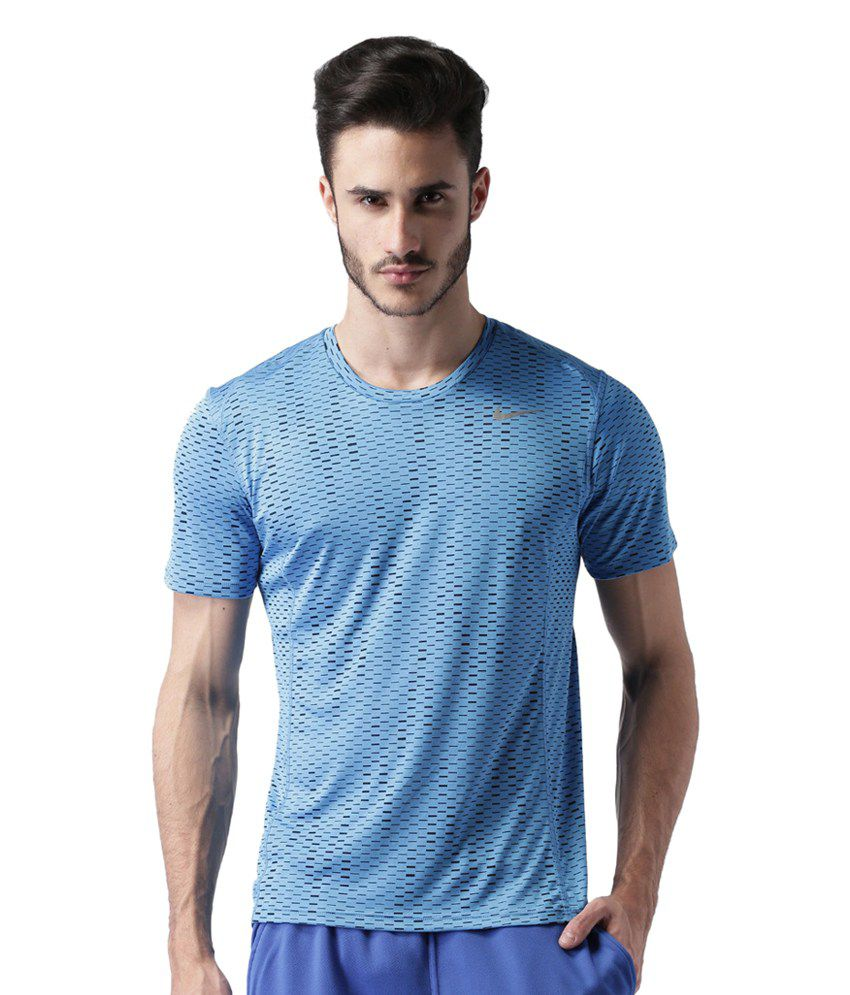 Nike Blue Printed T-Shirt for Men