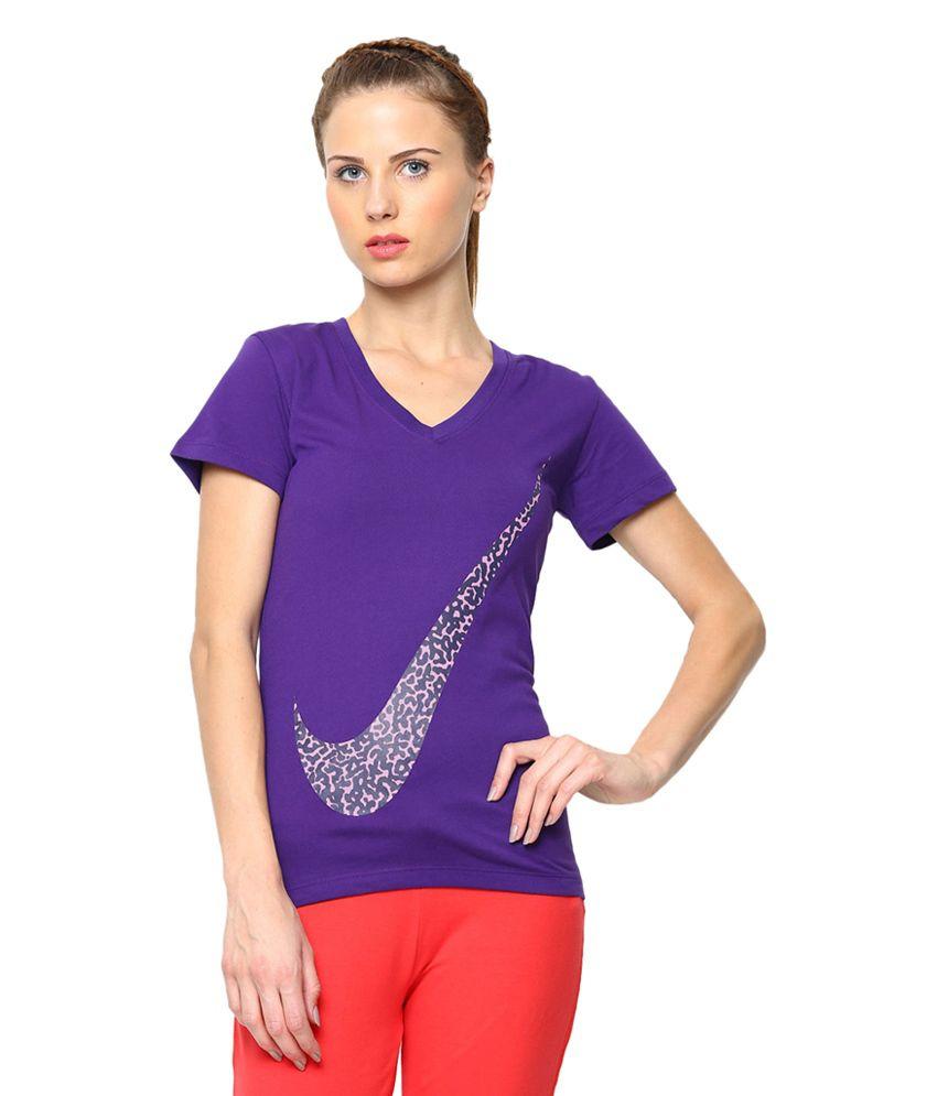 Nike Purple AS DFC Mezo Swoosh Printed T-Shirt for Women
