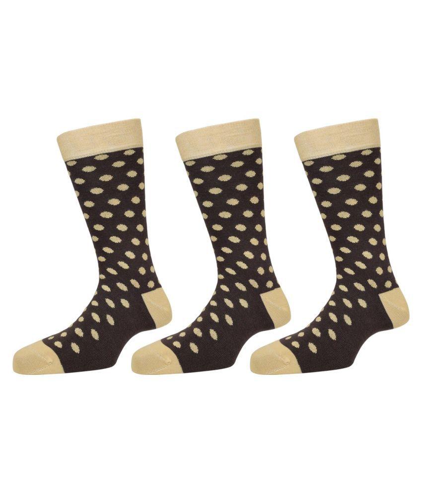 The Blue Mountain Multicolour Cotton Socks for Men - Pack of 3