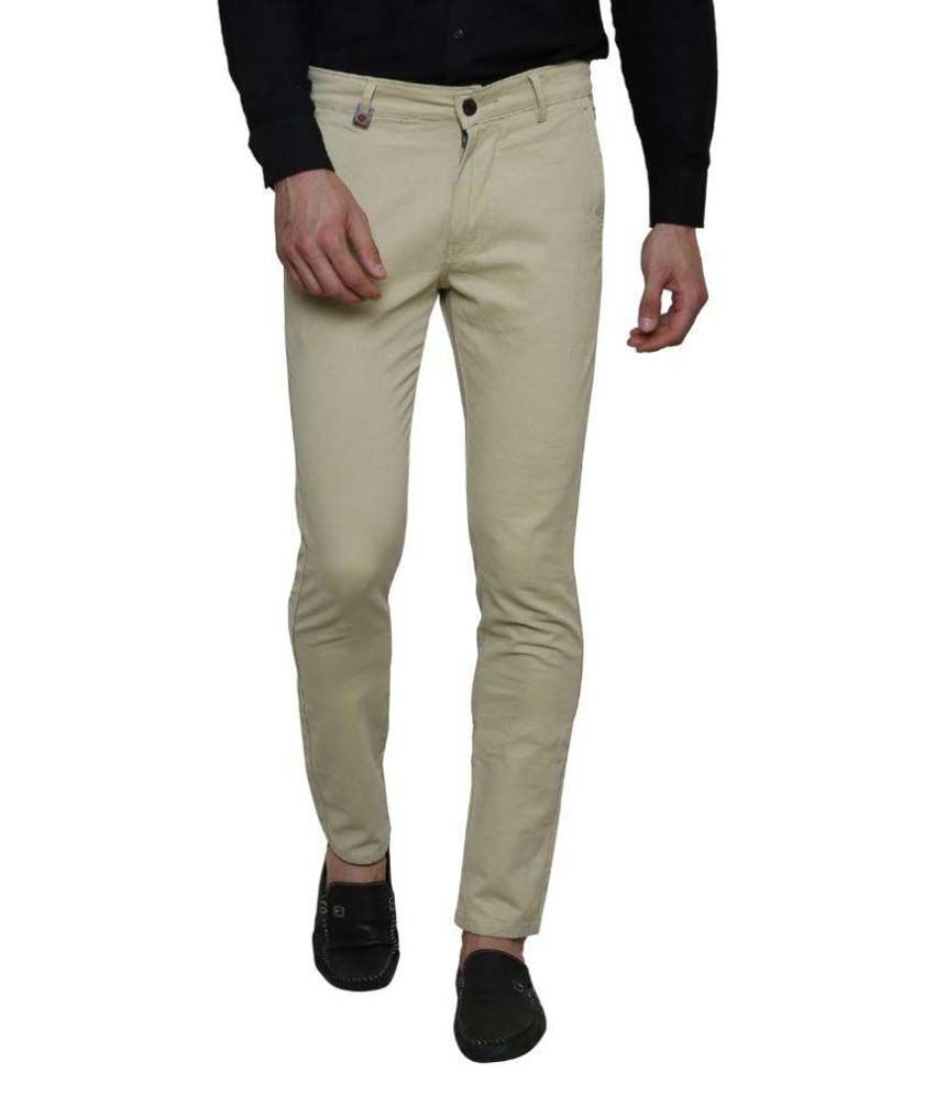 unq Beige Slim fit Casual Chinos