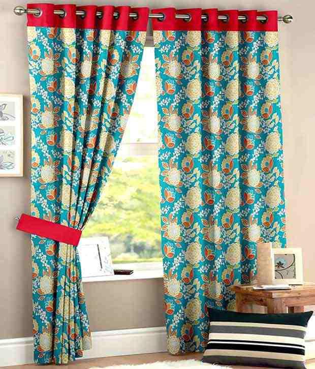 HOMEC Set of 2 Window Eyelet Curtain Floral Multi Color