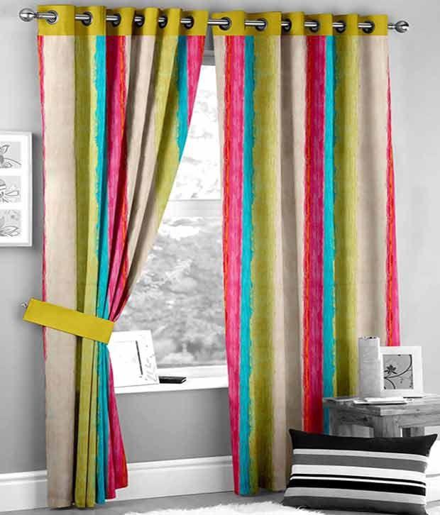 HOMEC Set of 2 Window Eyelet Curtain Stripes Multi Color