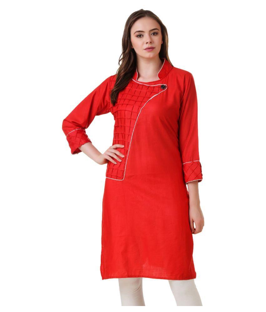 Stylishbae Red Cotton Straight Kurti