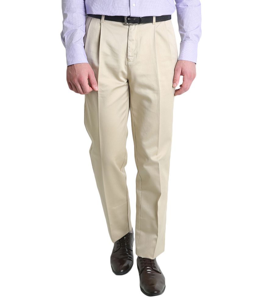 BLACKBERRYS Beige Regular Fit Formal Trousers