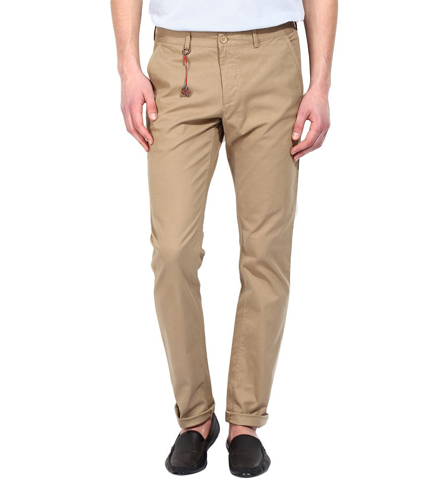 BLACKBERRYS Beige Skinny Fit Formal Trousers
