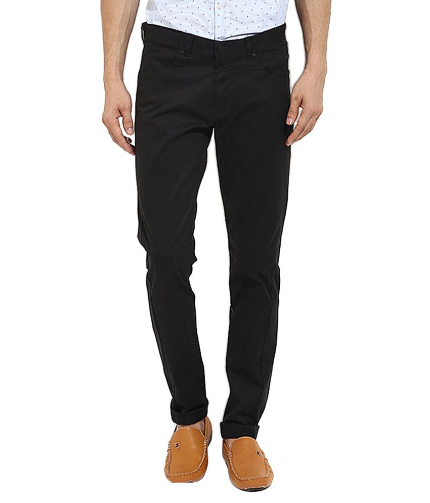BLACKBERRYS Black Slim Fit Casual Trousers