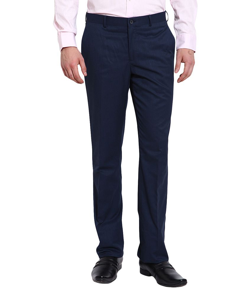 BLACKBERRYS Blue Regular Fit Formal Trousers
