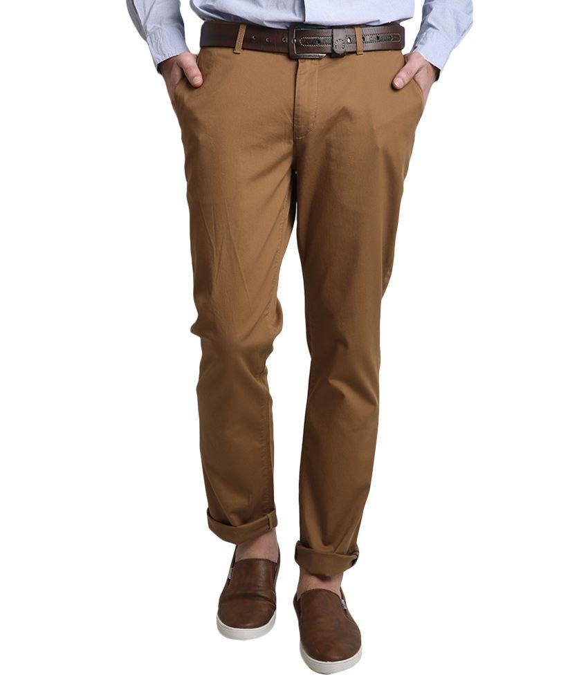 BLACKBERRYS Brown Regular Fit Formal Trousers