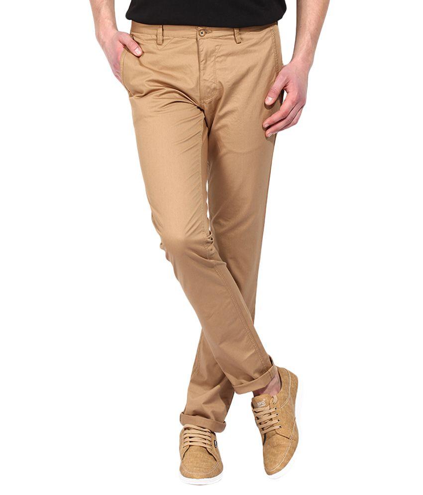 BLACKBERRYS Brown Slim Fit Formal Trousers
