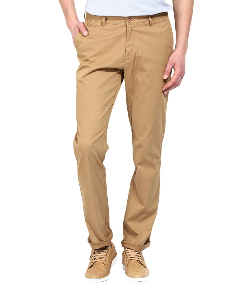 BLACKBERRYS Khaki Regular Fit Formal Trousers