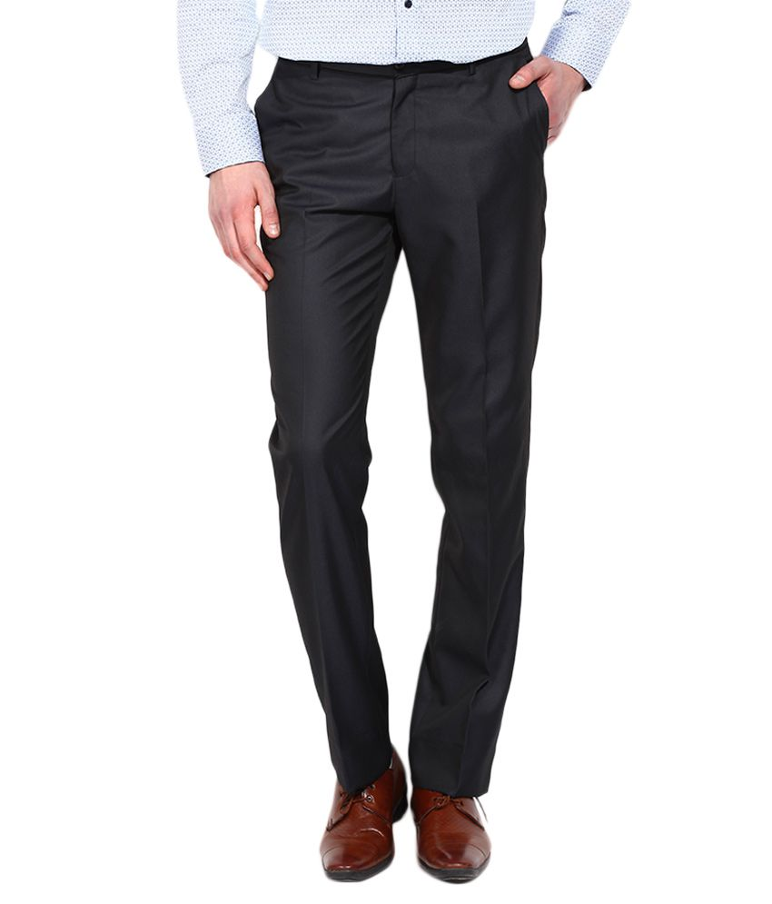 BLACKBERRYS Navy Blue Regular Fit Casual Trousers