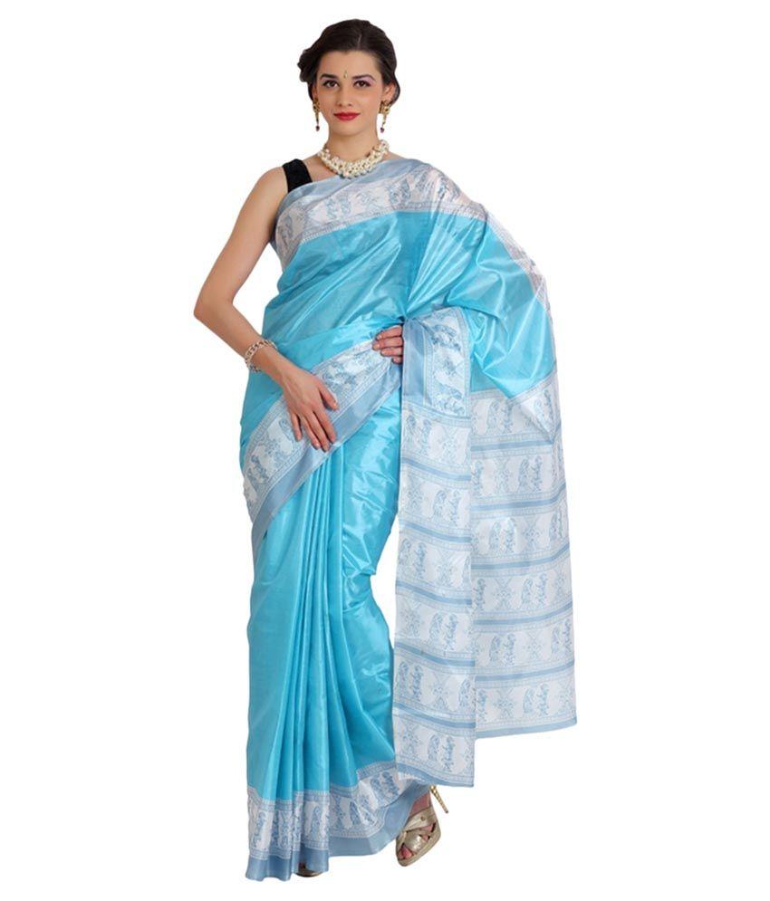 Satrang Blue Art Silk Saree