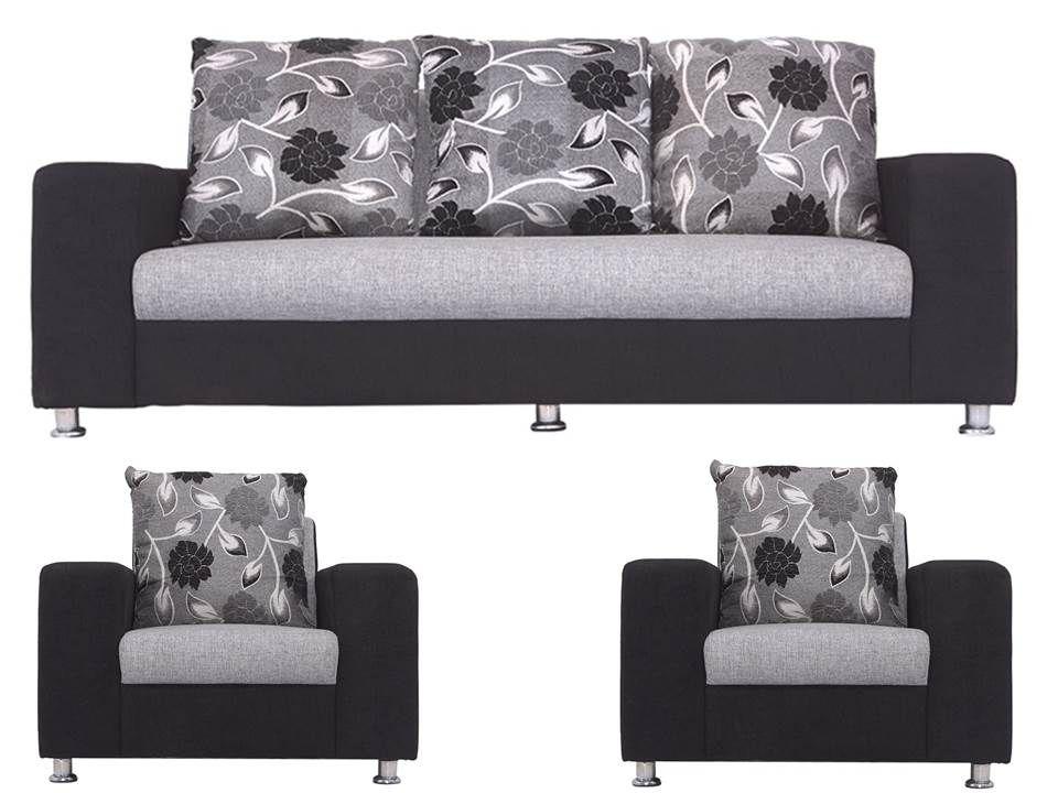 Bls Ocean Black Grey Fabric 3 1 1 Sofa Set Buy Bls Ocean