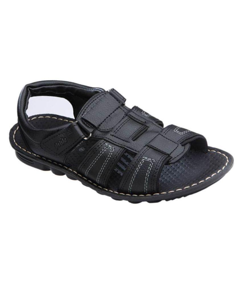 60f4cb4e0 VKC Pride Black Sandals Price in India- Buy VKC Pride Black Sandals Online  at Snapdeal