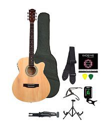 Kadence Frontier Series Acoustic Guitar (With Equalizer and Pickup) ,Natural Combo(Bag,strap,strings and 3 picks, tuner, capo, guitar stand)