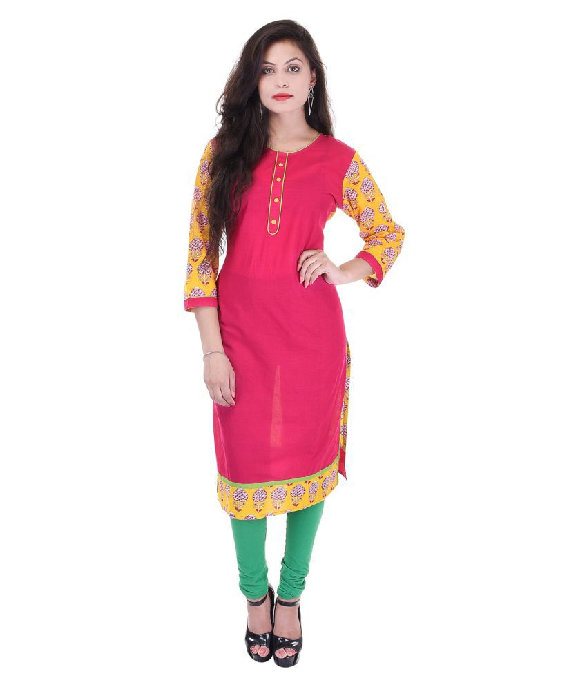 Artisan Creation Pink Cotton Straight Kurti