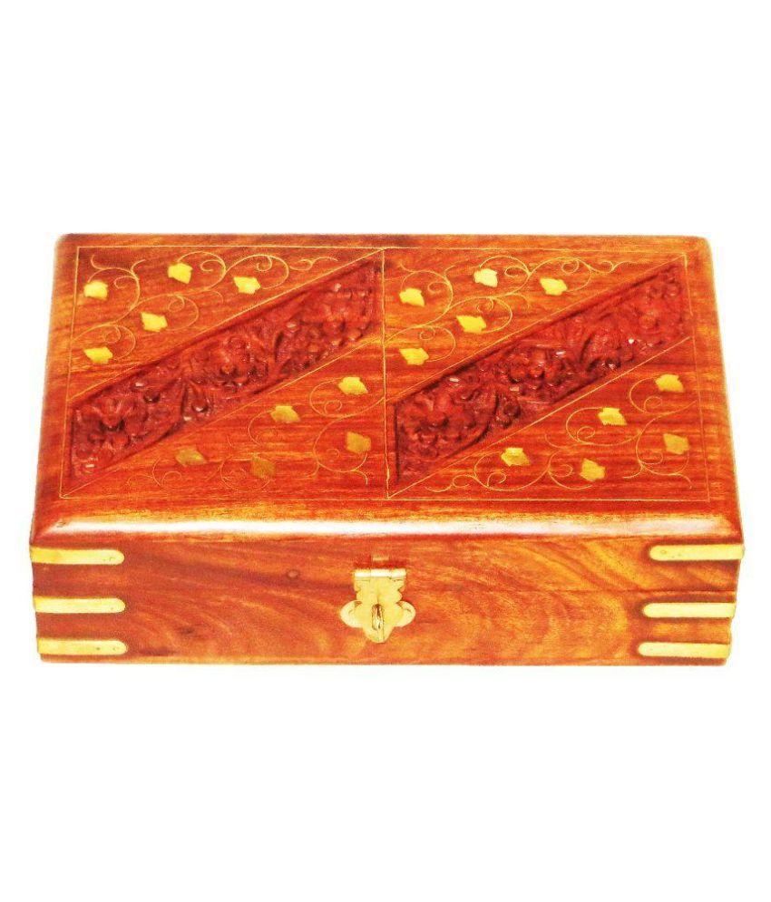Antiqua V Group Tan Wood Jewellery Box