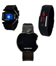 Gurukrupa Enterprises Black Digital Watches - Pack of 3