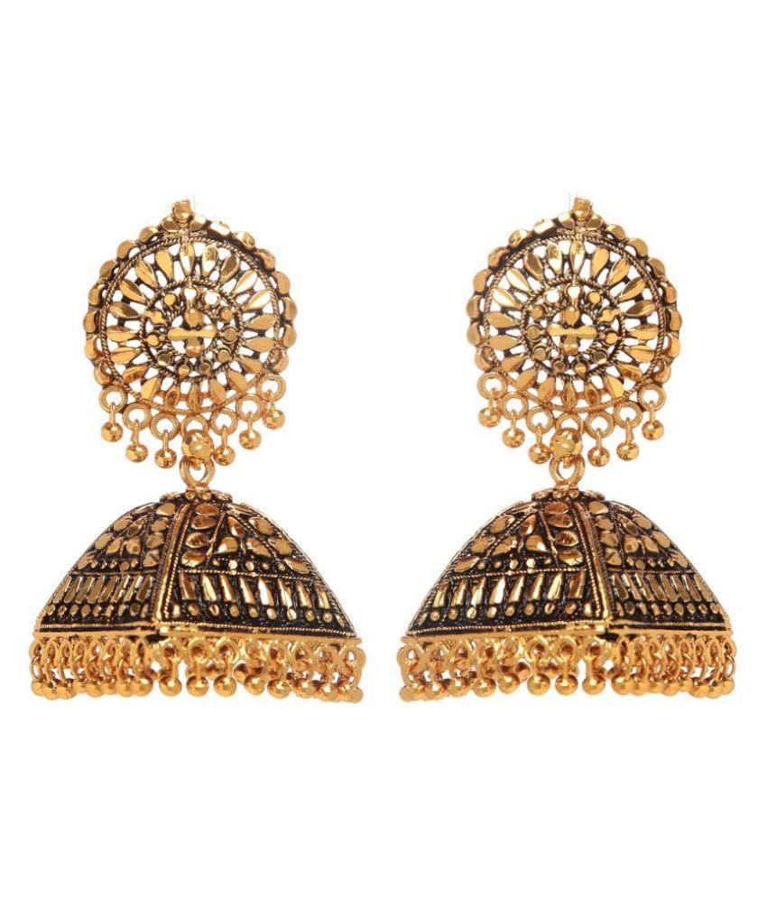 GoldNera Golden Jhumki Earrings