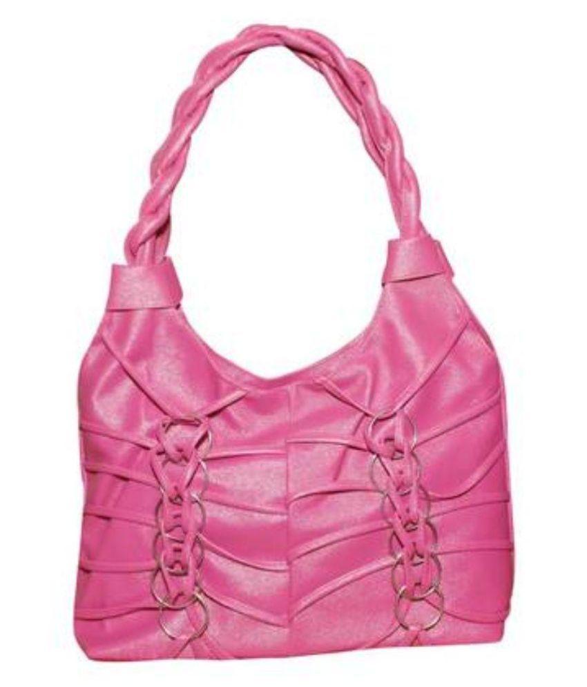 SR Sales Pink Faux Leather Shoulder Bag