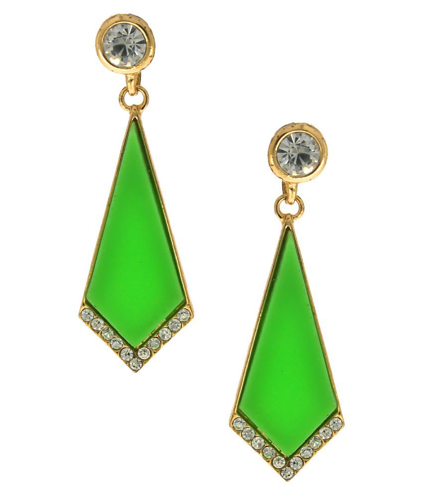 Anuradha Art Green Hanging Earrings