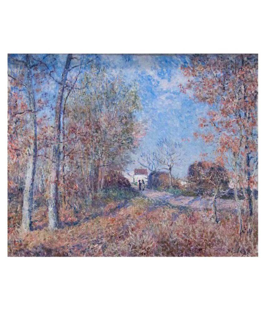 Tallenge Textured - Un coin de bois aux Sablons by Alfred Sisley - Small Size Canvas Art Print