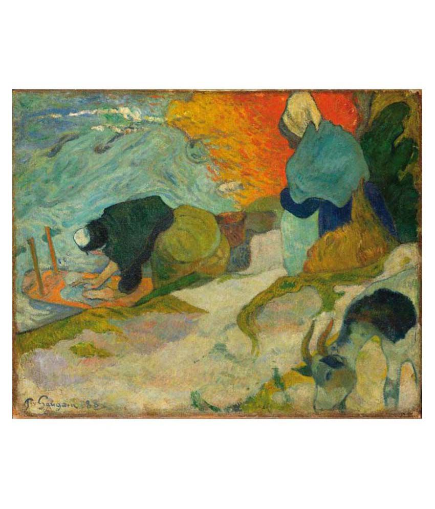 Tallenge Textured - Washerwomen in Arles by Paul Gauguin - Small Size Canvas Art Print